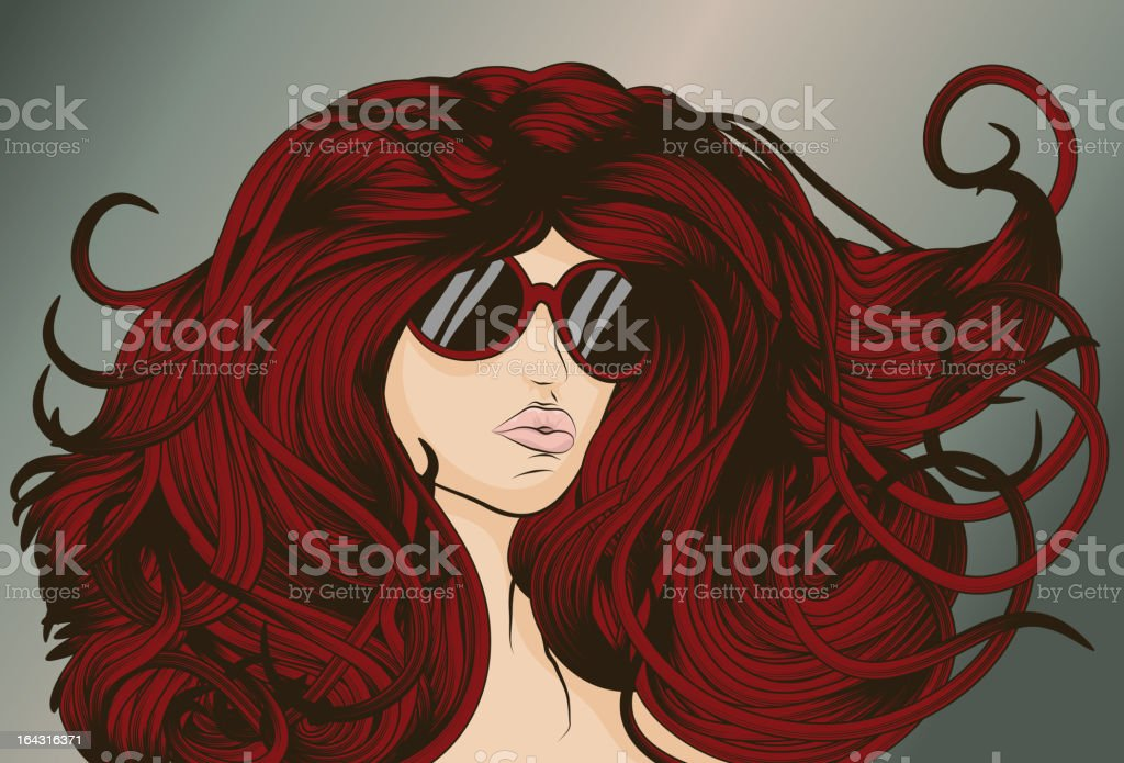 Red Head with long detailed flowing hair vector art illustration