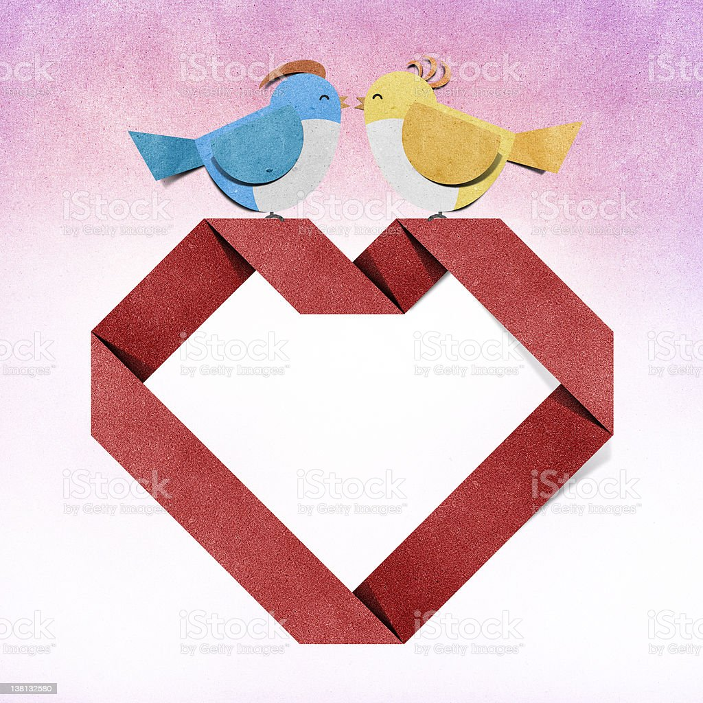 red heart and bird recycled papercraft royalty-free stock vector art