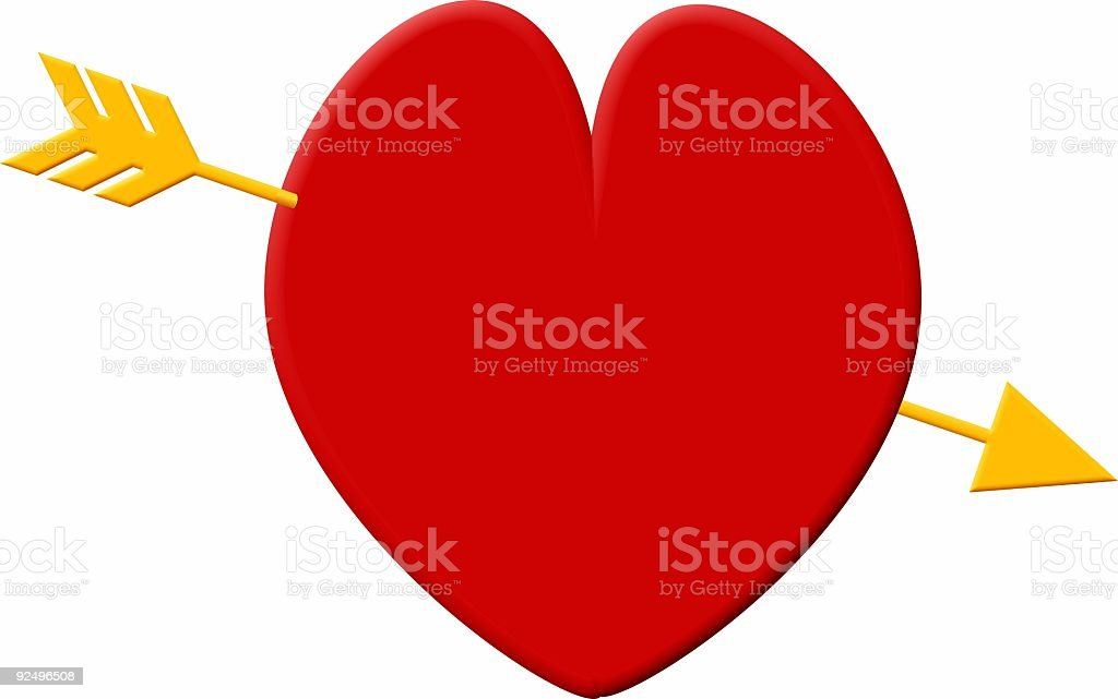 Red heart, golden arrow royalty-free red heart golden arrow stock vector art & more images of color image