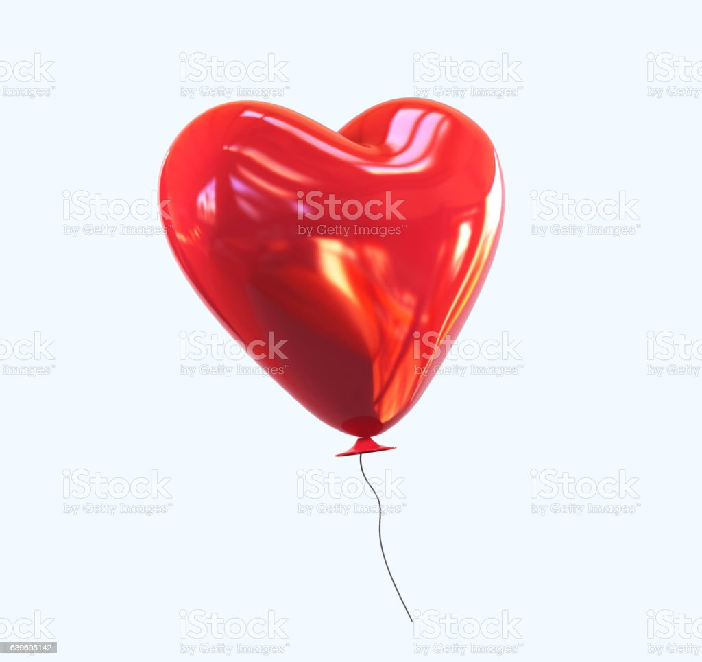 Red heart helium Balloon with glossy reflection isolated. vector art illustration