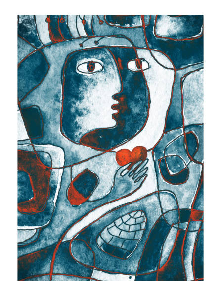 a red heart in hands, a face and lines. cubistic painting. - modern art stock illustrations