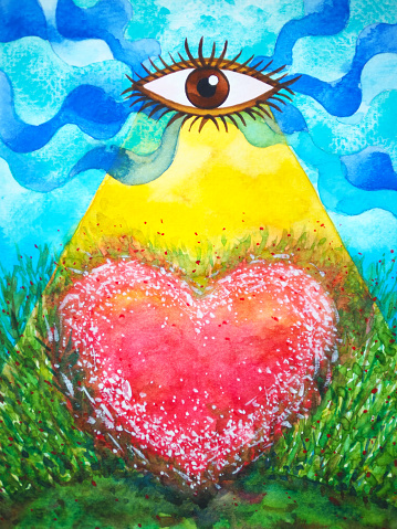 red heart love power mind spiritual mental abstract art watercolor painting illustration design drawing