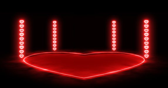 red heart shape neon lights and stage