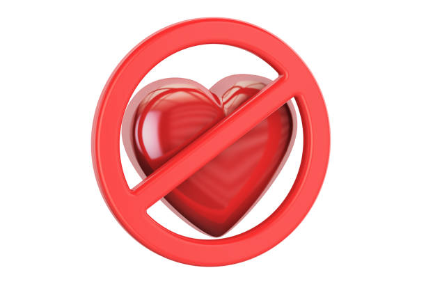 Red heart with forbidden sign, 3D rendering isolated on white background vector art illustration