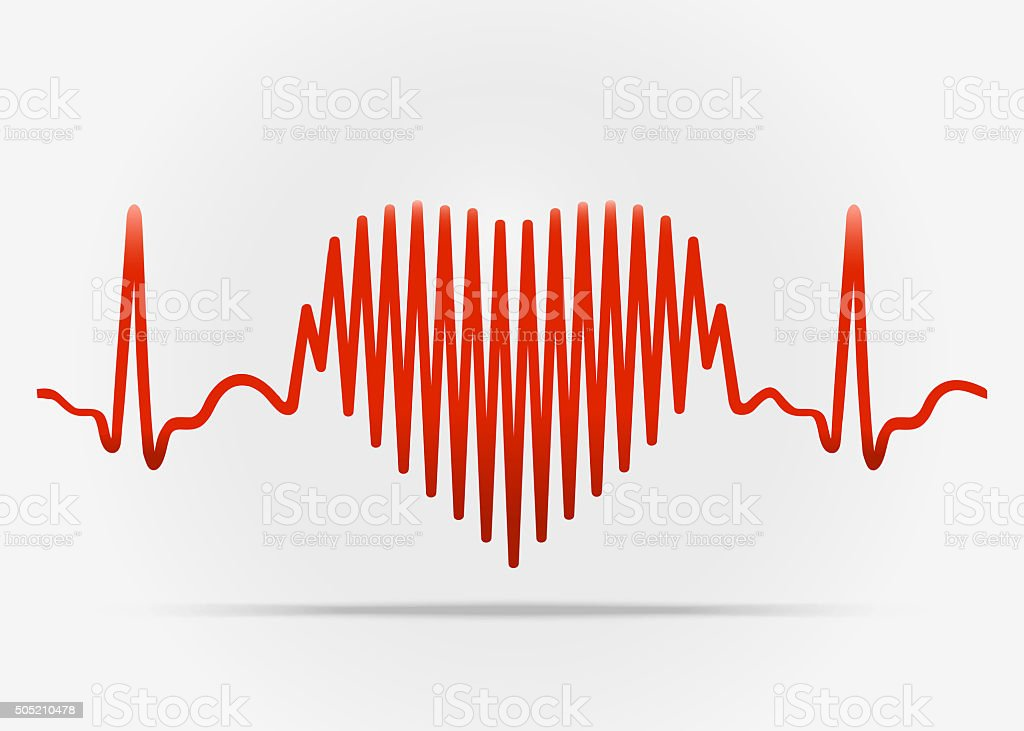 Red heart with the transition to ECG with shadow vector art illustration