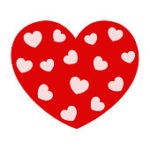 Red heart with white hearts Valentine icon raster image