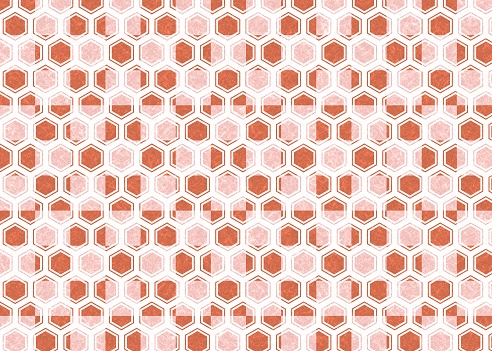 Red hexagon and checkered Japanese paper