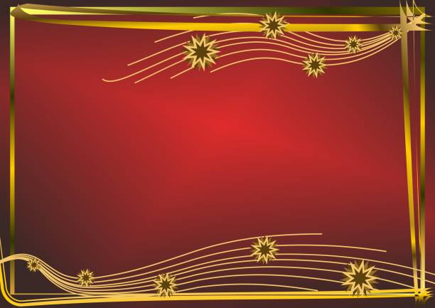 Red horizontal background with golden stars vector art illustration