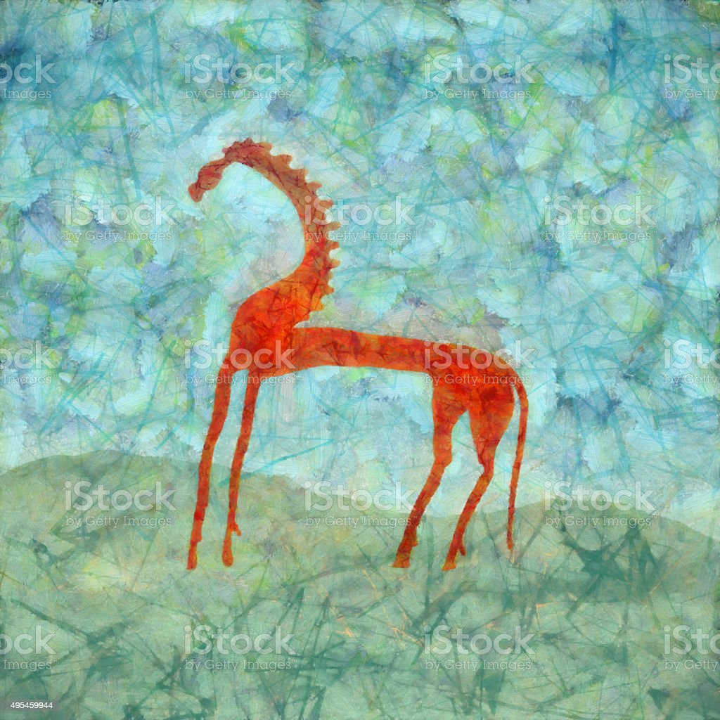 Red Horse Modern Art Painting vector art illustration