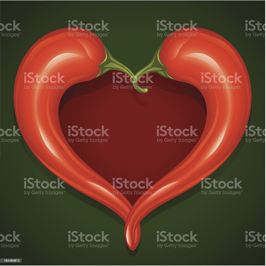 Red Hot chilli pepper frame in the shape of heart royalty-free stock vector art
