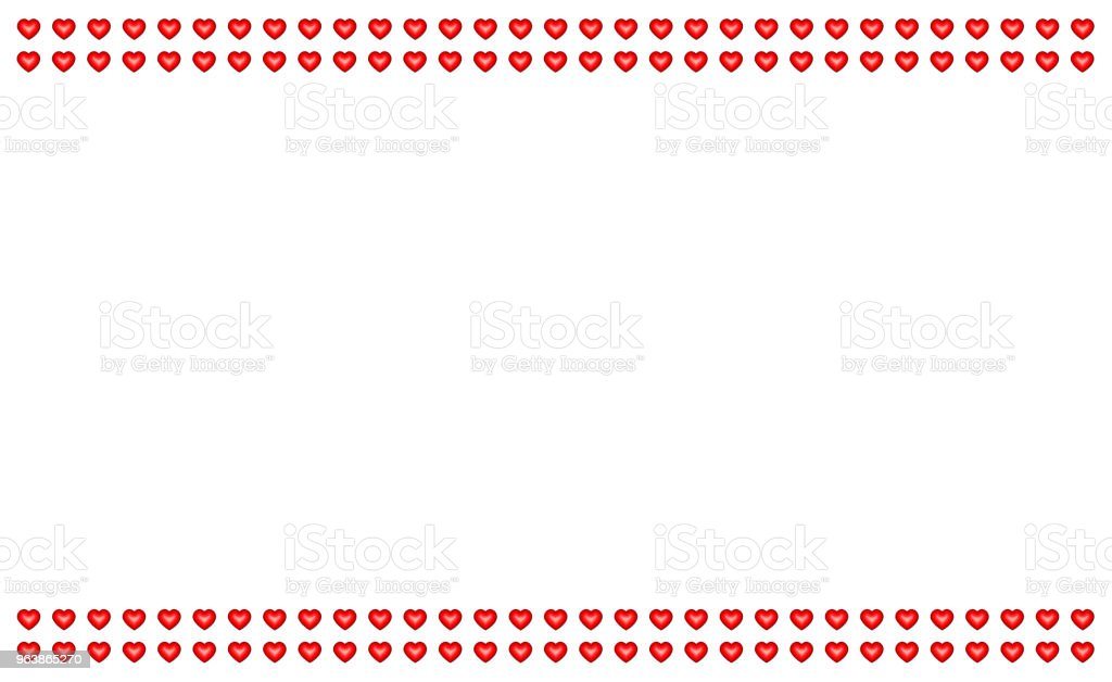 Red Icon Heart Symbol Valentine Day Row Parallel Lines Decoration