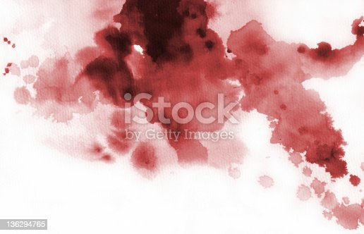 istock Red ink splash and stain 136294765