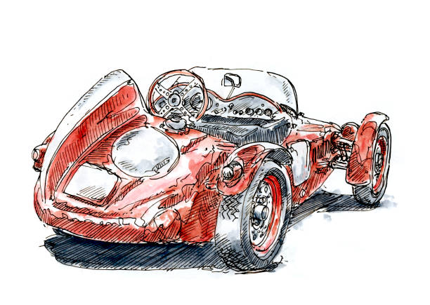 Red Italian Classic Racecar Ink Drawing and Watercolor Red Italian Classic Racecar. Fountain Pen Ink Drawing and Watercolor Pencils. Drawn on location. motor sport stock illustrations