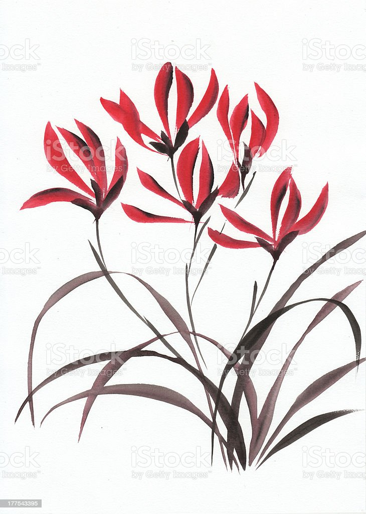 Red mountain flowers royalty-free red mountain flowers stock vector art & more images of art