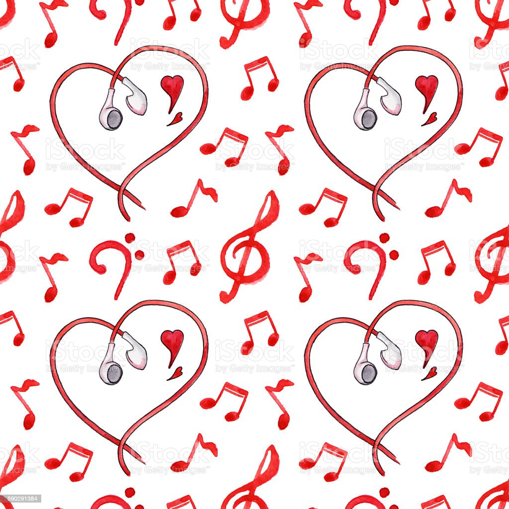Red notes earphones hearts love music seamless pattern royaltyfri red notes earphones hearts love music seamless pattern-vektorgrafik och fler bilder på abstrakt
