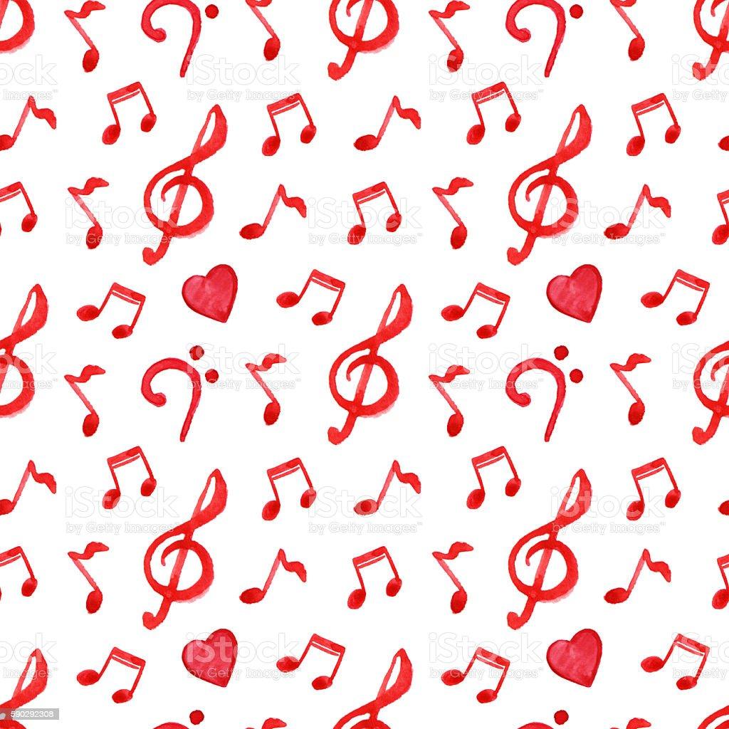 Red notes treble bass clef love music seamless pattern royaltyfri red notes treble bass clef love music seamless pattern-vektorgrafik och fler bilder på akvarellmålning