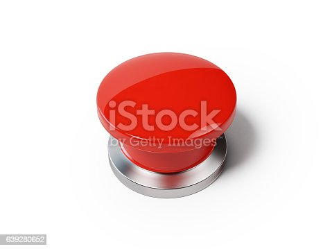 High quality 3d render of a red on and off button isolated on background. Clipping path for on and off button is included. Horizontal composition with copy space.
