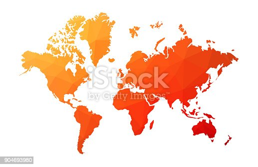 Abstract low poly World map with red-orange color gradient on white background.