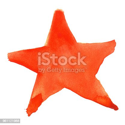 Red Orange Watercolor Five Pointed Star Symbol Isolated Stock Vector