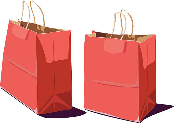 Red Paper Shopping Bag - Two views! vector art illustration