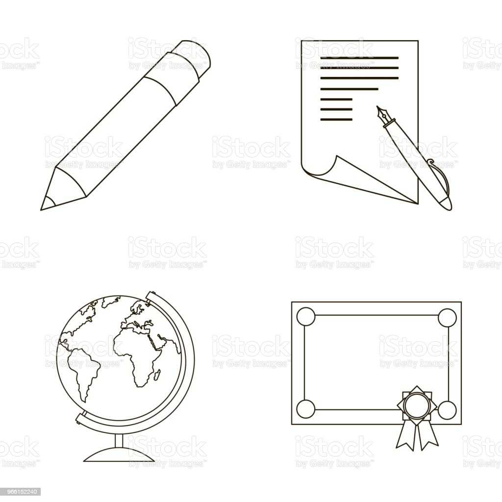 Red pencil, a sheet of paper with a blue handle, a diploma with a seal, a globe on a stand.School set collection icons in outline style vector symbol stock illustration web. - Royalty-free Diploma stock illustration