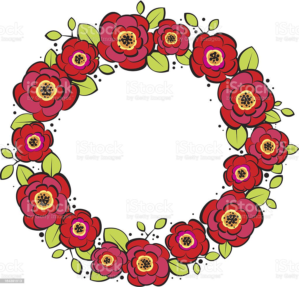 red posies wreath vector art illustration