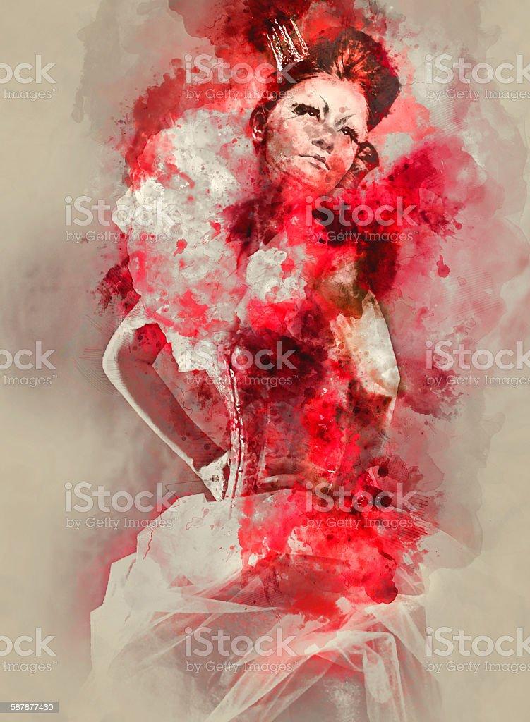 Red Queen vector art illustration