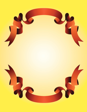red ribbon on a yellow background