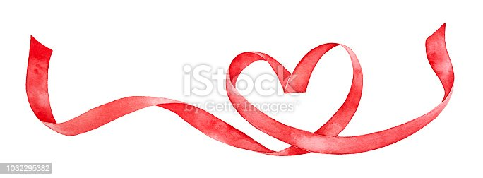 istock Red ribbon shaped as love heart. Hand drawn water color gradient painting on white background, cutout element for design decoration. 1032295382
