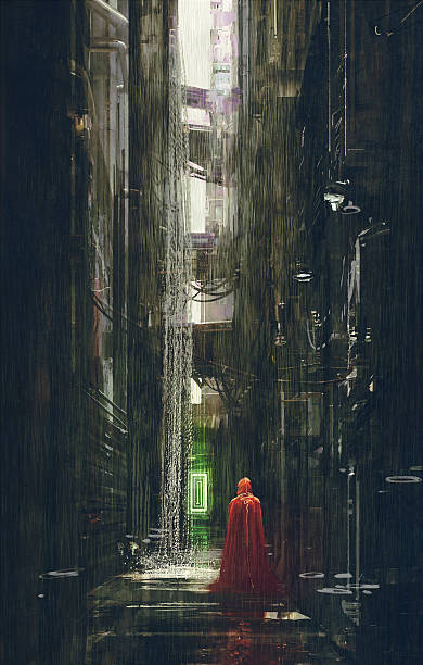 bildbanksillustrationer, clip art samt tecknat material och ikoner med red riding hood in futuristic alley - gränd