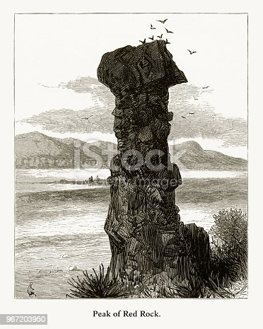 Very Rare, Beautifully Illustrated Antique Engraving of Red Rock, Columbia River, Oregon, United States, American Victorian Engraving, 1872. Source: Original edition from my own archives. Copyright has expired on this artwork. Digitally restored.