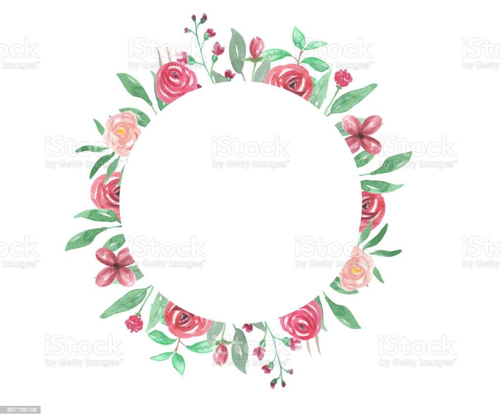 Ilustración de Marco De Círculo Floral Acuarela Rosa Rojo Flor y más ...