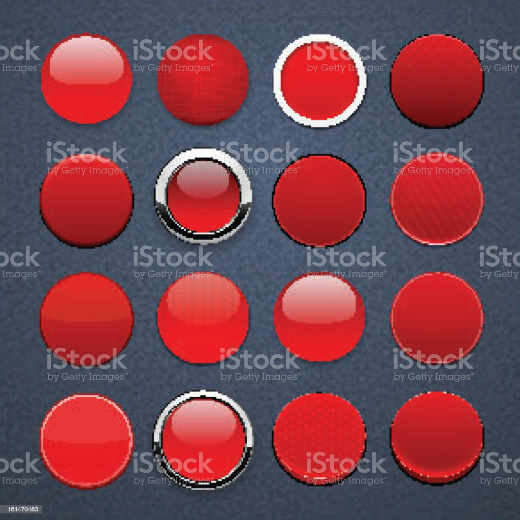 Red round high-detailed modern web buttons. royalty-free stock vector art
