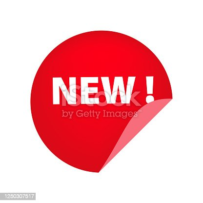 Red round New tag with unstuck corner on white background. Product, collection, novelty. Sale banner concept. illustration can be used for stickers, leaflets, posters