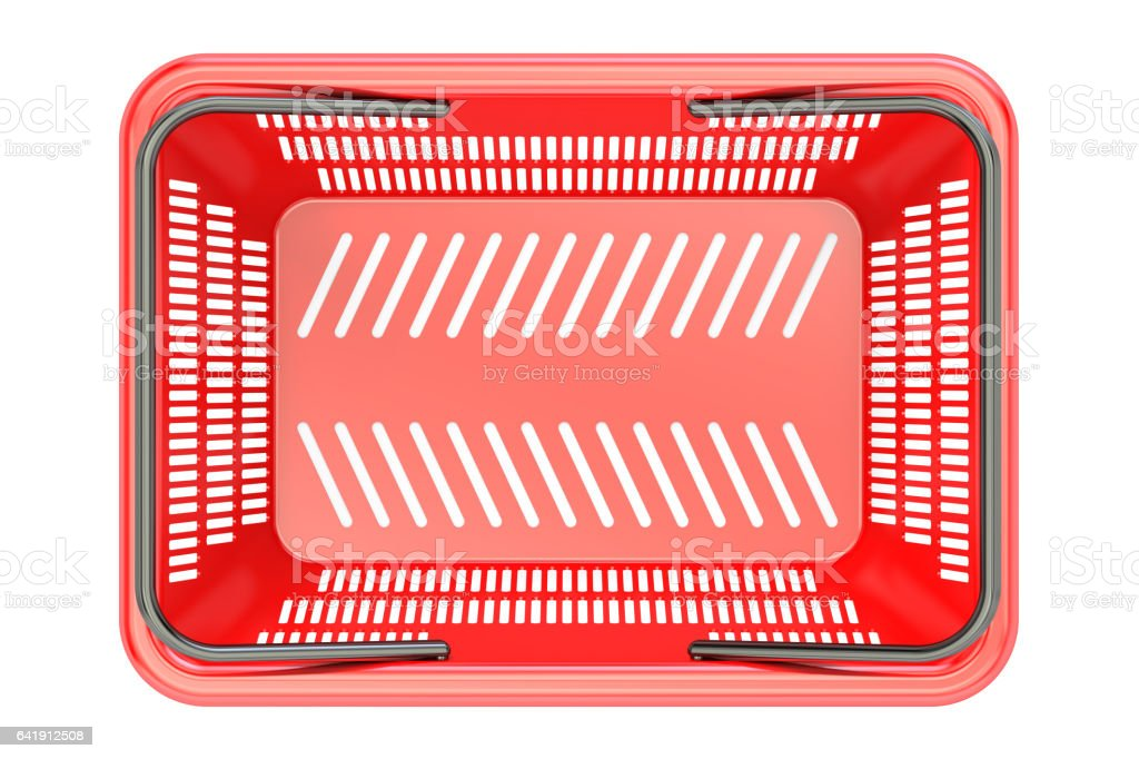 Red shopping basket top view, 3D rendering vector art illustration