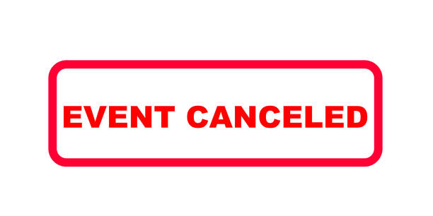 Red sign in english letters with the information (event) canceled vector art illustration