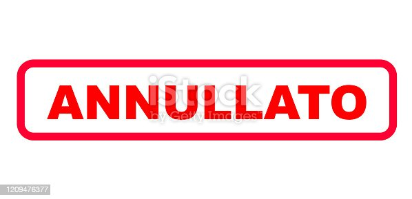 istock Red sign in italian letters with the information (Evento) annullato (event canceled) 1209476377