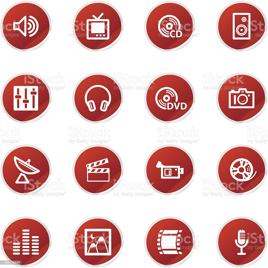 red sticker media icons royalty-free stock vector art