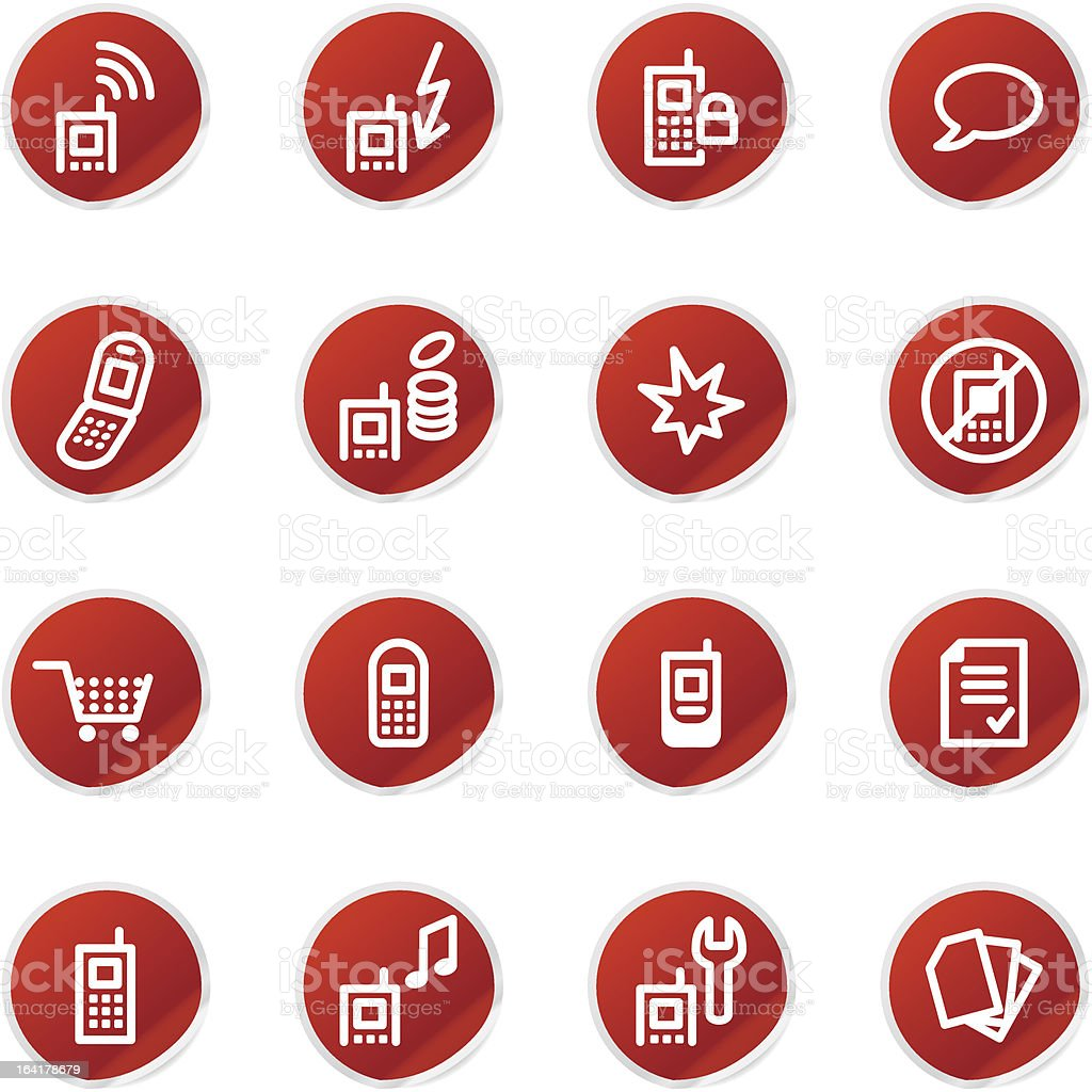 red sticker mobile phone icons royalty-free red sticker mobile phone icons stock vector art & more images of arts culture and entertainment