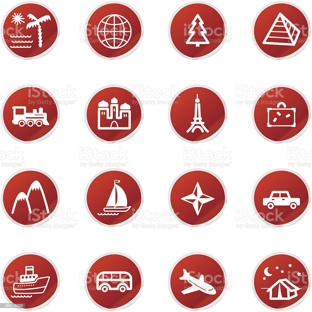 Roter Aufkleber Reisen Symbole Stock Vektor Art Und Mehr Bilder Von Anzeigetafel Für Kino Oder Theater