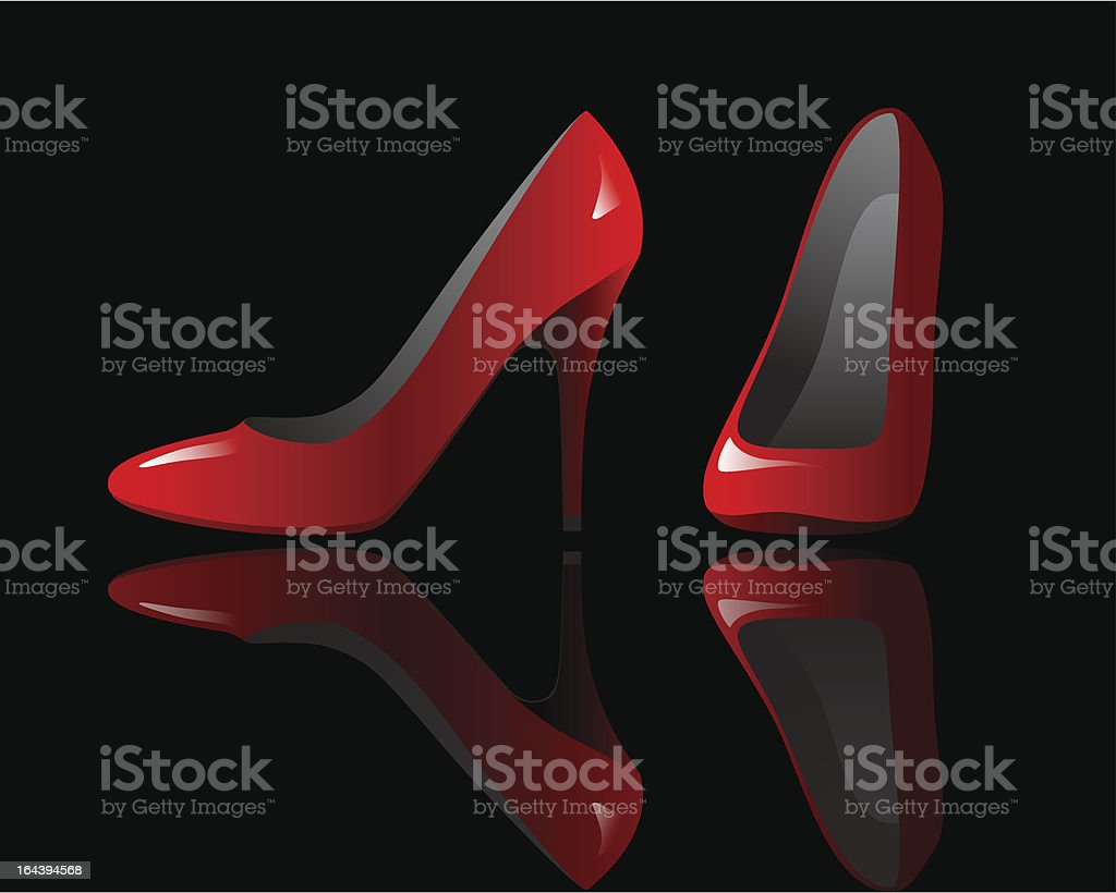 Red stilettos over black vector art illustration