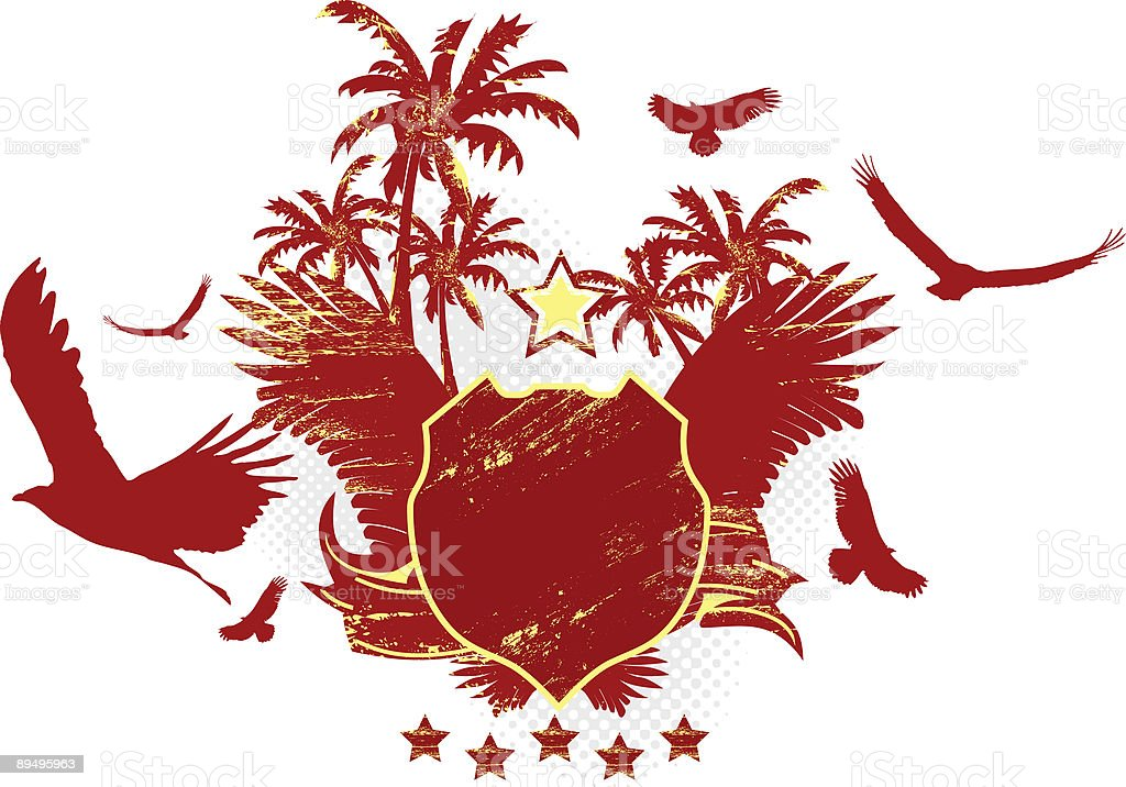 Red Stylish Shield with Palm Trees and Eagles royalty free red stylish shield with palm trees and eagles stockvectorkunst en meer beelden van abstract