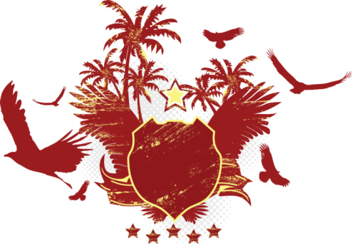Red Stylish Shield with Palm Trees and Eagles