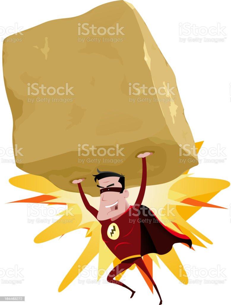 Red Superhero Raising Heavy Big Rock vector art illustration