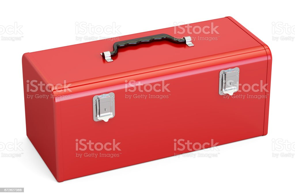 Red Toolbox, 3D rendering isolated on white background vector art illustration