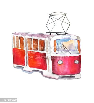 Red tram in watercolor style on a white background. Isolated