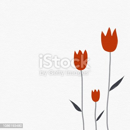 Red tulip flowers on white watercolor illustration background