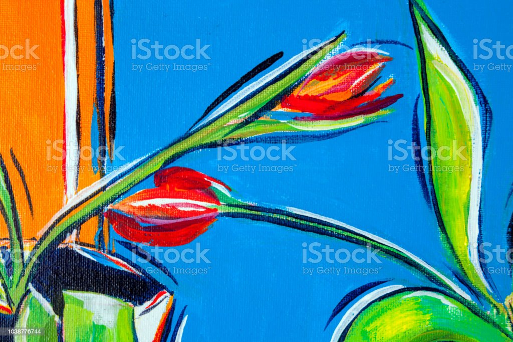 Red Tulips Flowers On An Orange And Blue Background Acrylic Painting Technique Detail Stock Illustration Download Image Now