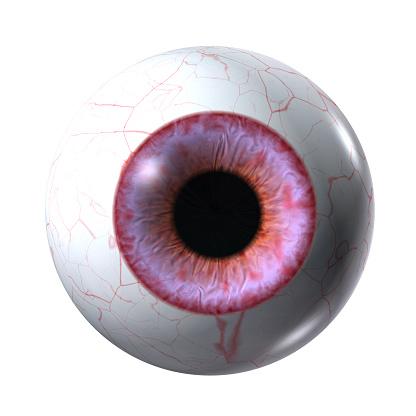 red vampire eyeball isolated on a white
