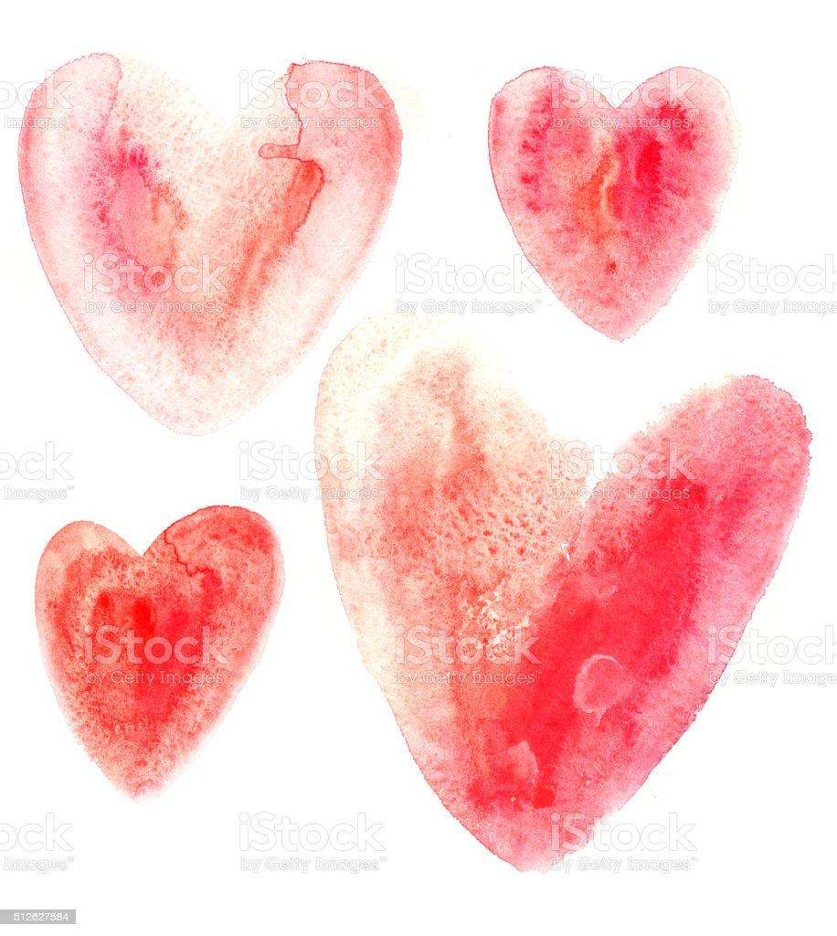 Red watercolor interesting hearts vector art illustration